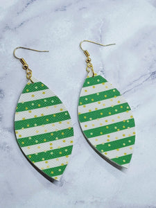 LUCKY STRIPES LEAF - FAUX LEATHER EARRINGS - Handmade Creations by Liz