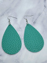 Load image into Gallery viewer, TEAL LARGE TEARDROP - FAUX LEATHER EARRINGS
