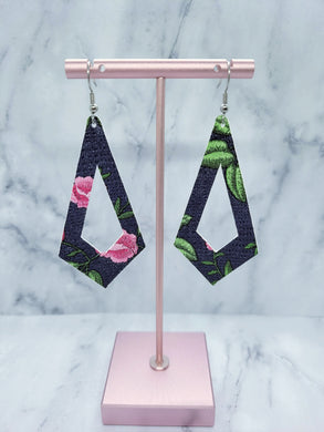 NAVY BLUE WITH PINK FLOWERS PATTERN KITE - FAUX LEATHER EARRINGS - Handmade Creations by Liz