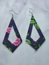 Load image into Gallery viewer, NAVY BLUE WITH PINK FLOWERS PATTERN KITE - FAUX LEATHER EARRINGS - Handmade Creations by Liz