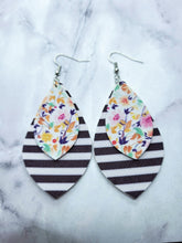 Load image into Gallery viewer, FLORAL PATTERN AND STRIPES TEARDROP - FAUX LEATHER EARRINGS