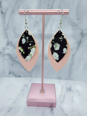 BLACK FLOWER PATTERN AND PINK LEAF - FAUX LEATHER EARRINGS - Handmade Creations by Liz
