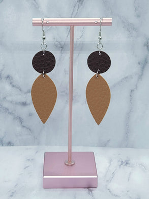BROWN AND LIGHT BROWN FAUX LEATHER EARRINGS - DANGLE