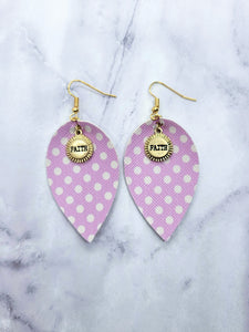 LILAC DOTS WITH FAITH CHARM MAGNOLIA - FAUX LEATHER EARRINGS