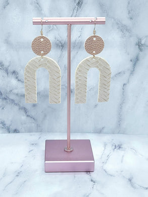 ROSE GOLD AND LATTE BRAIDED DANGLE U FAUX LEATHER EARRINGS