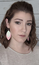 Load image into Gallery viewer, WHITE/PINK GLITTER AND PINK FAUX LEATHER EARRINGS - LEAF