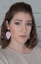 Load image into Gallery viewer, LILAC DOTS WITH FAITH CHARM MAGNOLIA - FAUX LEATHER EARRINGS