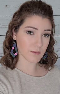 NAVY BLUE WITH PINK FLOWERS PATTERN KITE - FAUX LEATHER EARRINGS