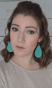 TEAL LARGE TEARDROP - FAUX LEATHER EARRINGS