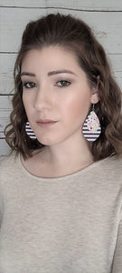 FLORAL PATTERN AND STRIPES TEARDROP - FAUX LEATHER EARRINGS