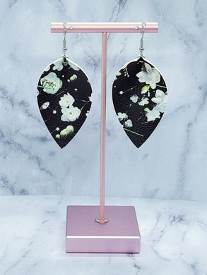 BLACK FLOWER PATTERN FAUX LEATHER EARRINGS - MAGNOLIA