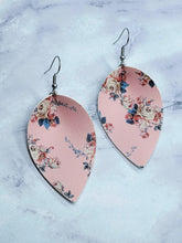 Load image into Gallery viewer, PINK FLOWER PATTERN FAUX LEATHER EARRINGS - MAGNOLIA