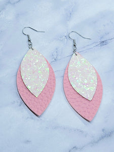 WHITE/PINK GLITTER AND PINK FAUX LEATHER EARRINGS - LEAF