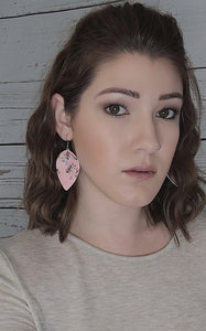 PINK FLOWER PATTERN FAUX LEATHER EARRINGS - MAGNOLIA