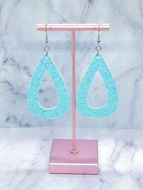 PASTEL BLUE GLITTER TEARDROP HOOP FAUX LEATHER EARRINGS