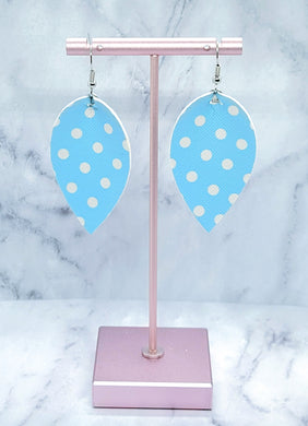 BLUE WITH WHITE DOTS MAGNOLIA FAUX LEATHER EARRINGS