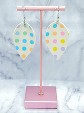 Load image into Gallery viewer, WHITE WITH COLOR DOTS MAGNOLIA FAUX LEATHER EARRINGS