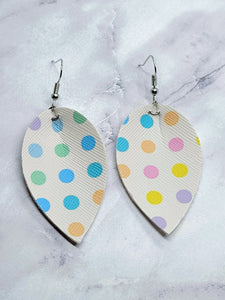 WHITE WITH COLOR DOTS MAGNOLIA FAUX LEATHER EARRINGS
