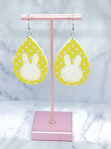 YELLOW WITH WHITE DOTS AND WHITE GLITTER BUNNY TEARDROP FAUX LEATHER EARRINGS
