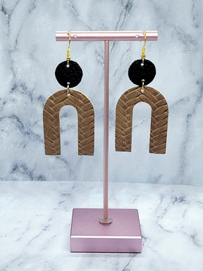 BLACK AND TAN BRAIDED DANGLE U FAUX LEATHER EARRINGS