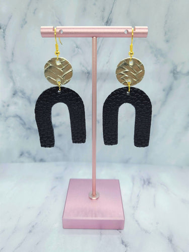 GOLD AND BLACK DANGLE U FAUX LEATHER EARRINGS