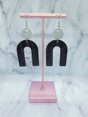 SILVER AND BLACK DANGLE U FAUX LEATHER EARRINGS