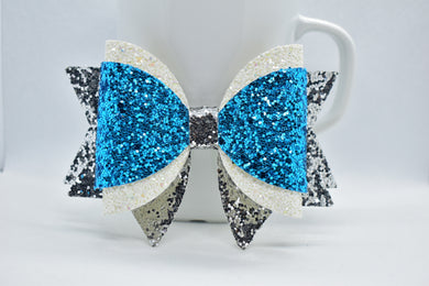 WHITE, ICE BLUE, AND SILVET GLITTER FAUX LEATHER BOW - Handmade Creations by Liz