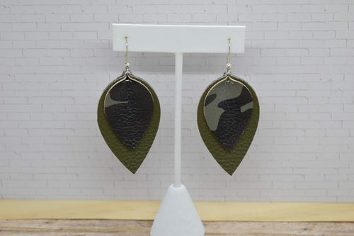 DARK CAMO AND OLIVE GREEN FAUX LEATHER EARRINGS - MAGNOLIA