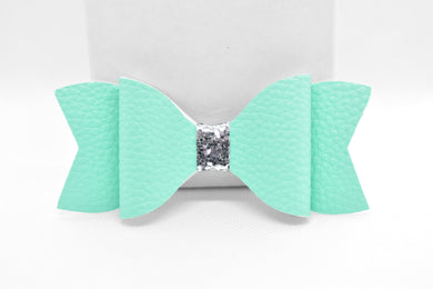 TURQUOISE AND SILVER GLITTER FAUX LEATHER BOW - Handmade Creations by Liz