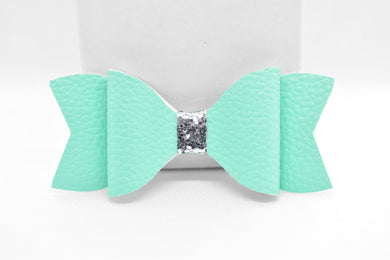 FAUX LEATHER BOW - TURQUOISE AND SILVER GLITTER - Handmade Creations by Liz