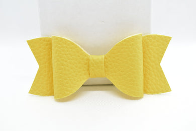 FAUX LEATHER BOW - YELLOW - Handmade Creations by Liz