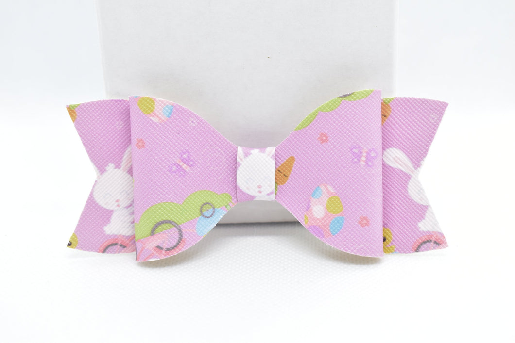 LILAC EASTER BUNNY FAUX LEATHER BOW - Handmade Creations by Liz