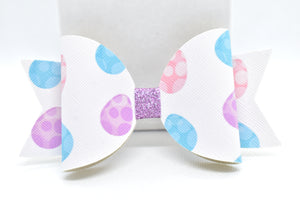 WHITE EASTER EGGS FAUX LEATHER BOW - Handmade Creations by Liz