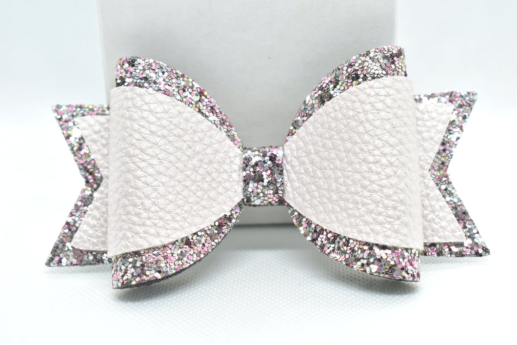 FAUX LEATHER BOW - METALLIC PINK AND PINK/SILVER GLITTER - Handmade Creations by Liz