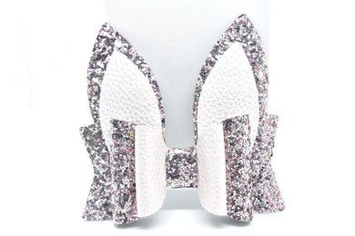 METALLIC PINK AND PINK/SILVER GLITTER BUNNY EARS FAUX LEATHER BOW - Handmade Creations by Liz
