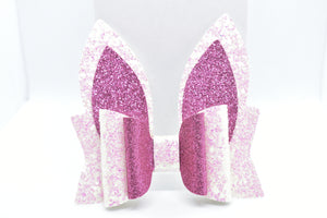 PINK GLITTER BUNNY EARS FAUX LEATHER BOW - Handmade Creations by Liz