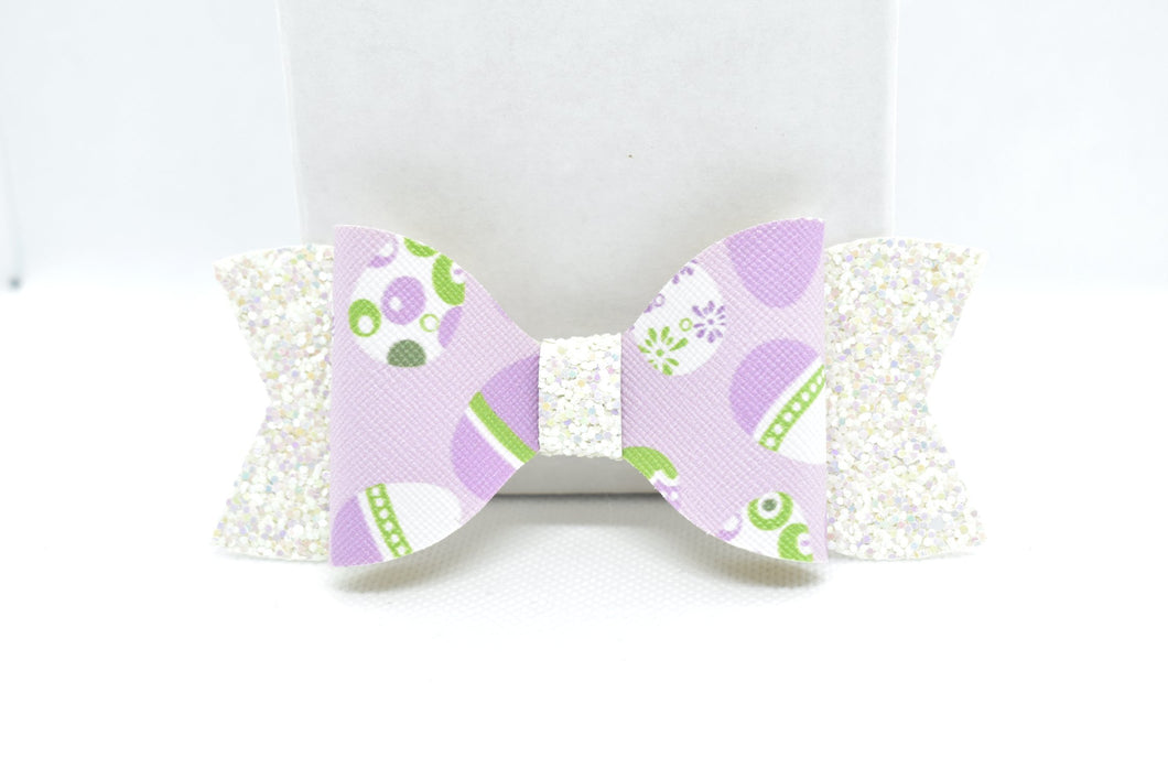 WHITE GLITTER AND PURPLE EASTER EGGS FAUX LEATHER BOW - Handmade Creations by Liz