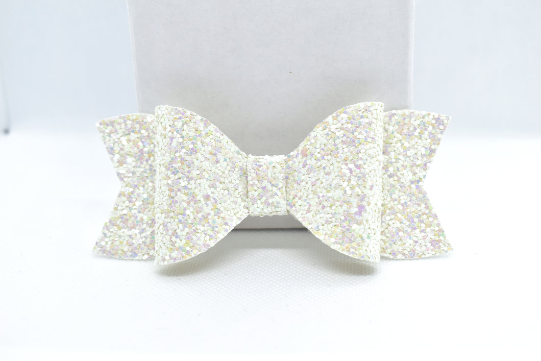 WHITE GLITTER FAUX LEATHER BOW - Handmade Creations by Liz