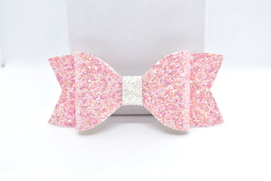 PINK AND WHITE GLITTER FAUX LEATHER BOW - Handmade Creations by Liz