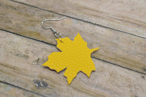 YELLOW MAPLE LEAF FAUX LEATHER EARRINGS