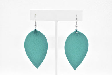 TEAL FAUX LEATHER EARRINGS – MAGNOLIA - Handmade Creations by Liz