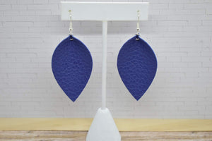 ROYAL BLUE FAUX LEATHER EARRINGS - MAGNOLIA
