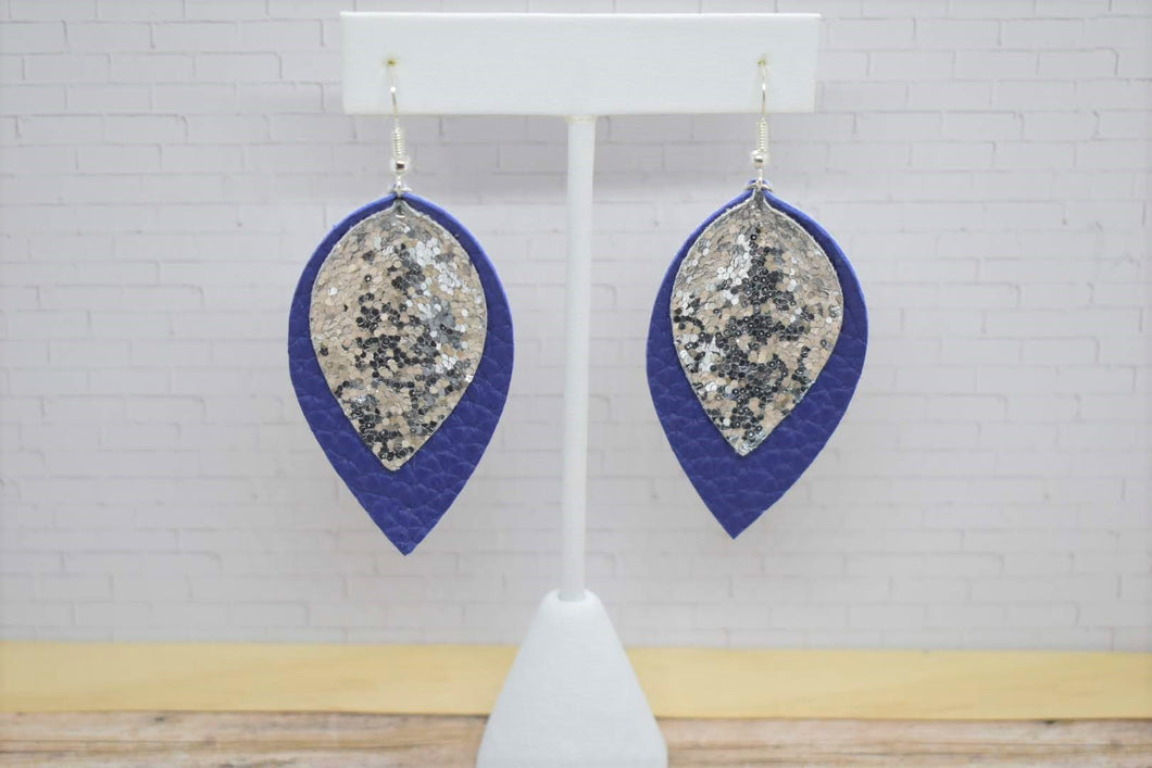 SILVER GLITTER AND ROYAL BLUE FAUX LEATHER EARRINGS - MAGNOLIA