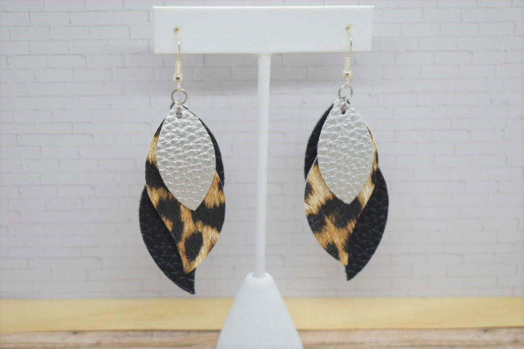 SILVER, LEOPARD PRINT AND BLACK FAUX LEATHER EARRINGS - WAVES