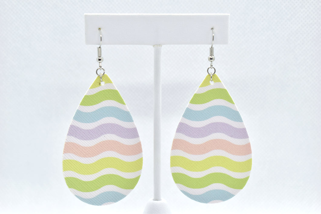 FAUX LEATHER EARRINGS - EASTER COLORS TEARDROP - Handmade Creations by Liz