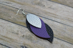 SILVER, PURPLE AND BLACK FAUX LEATHER EARRINGS - WAVES