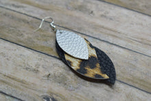 Load image into Gallery viewer, SILVER, LEOPARD PRINT AND BLACK FAUX LEATHER EARRINGS - WAVES