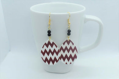 FAUX LEATHER TEARDROP EARRINGS - RED AND WHITE ZIG ZAGS WITH BEADS - Handmade Creations by Liz