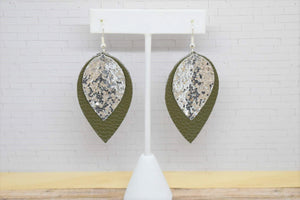 SILVER GLITTER AND OLIVE GREEN FAUX LEATHER EARRINGS - MAGNOLIA