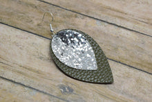 Load image into Gallery viewer, SILVER GLITTER AND OLIVE GREEN FAUX LEATHER EARRINGS - MAGNOLIA